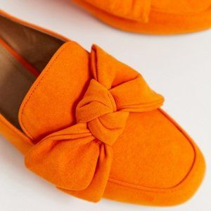 ASOS - My Girl Bow Slip-on Loafers in Orange,  7